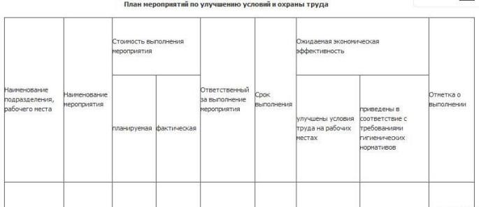 Форма плана мероприятий
